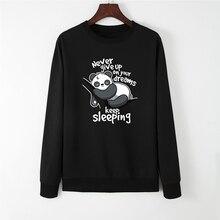 IeWomen толстовки Топы женские повседневные Пуловеры принт с милой пандой Толстовка весна осень пуловер с капюшоном уличная