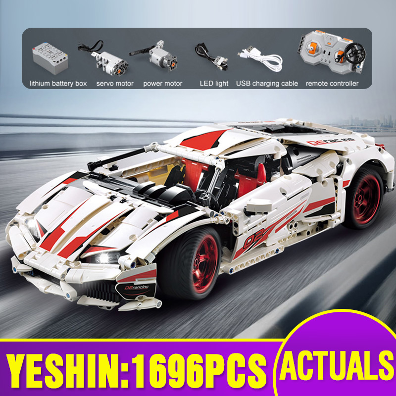 Yeshin Technic Cars Toys The White LP 610 Super-Car Set Assembly Motor Car Model Kid Christmas Toys Gifts Building Blocks Bricks