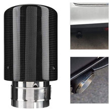 Universal Single Outlet Car Exhaust Pipe Muffler Tip Tail Throat Carbon Fiber Style (aka) Stainless Steel Car Modified Parts