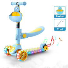 Portable Kids Scooter Folding Adjustable Freestyle City Fancy Children Toys Musical with Flashlight