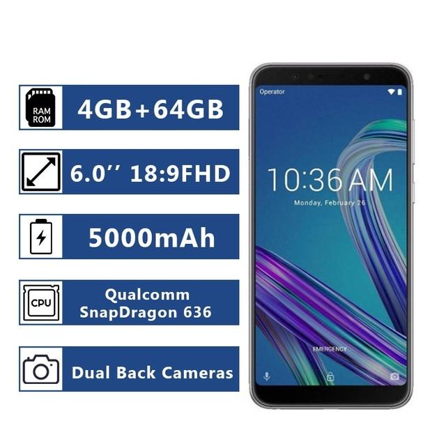 الإصدار العالمي من الهاتف الذكي Asus ZenFone Max Pro (M1) ZB602KL ذاكرة وصول عشوائي 4 جيجا بايت وذاكرة قراءة فقط 64 جيجا بايت هاتف ذكي 18:9 FHD 5000mAh Snapdragon 636 أندرويد