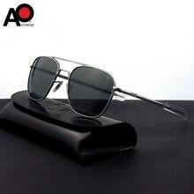 Unissex óculos de sol homem 2020 retângulo exército americano militar óptica ao 8054 óculos de sol piloto condução vidro moda oculos masculino