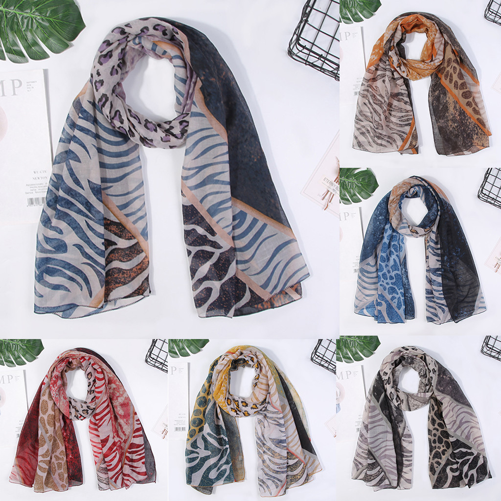 Scarf Elagant High Class Women Shawl Paris Yarn Autumn Zebra Pattern Retro Printing Scarves Scarf Foulard Femme Hijab Scarf шарф