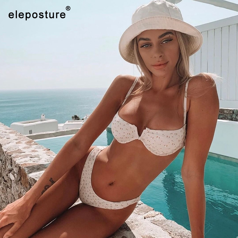 2020 New Sexy V Neck Bikini Swimwear Women Two Pieces Swimsuit Push Up Bikini Set Brazilian Bathing Suit Beachwear Swimming Suit