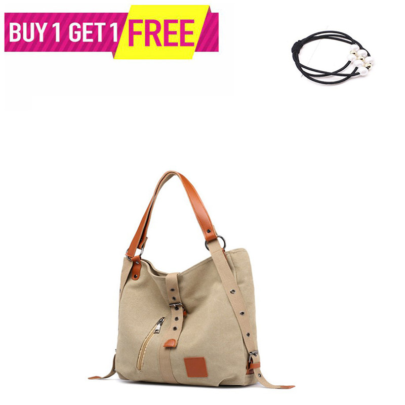 Fashion New Style Artistic Multi-functional  Hand Single Shoulder Backpack Canvas Brand Large Pocket Casual Tote Women's Bag
