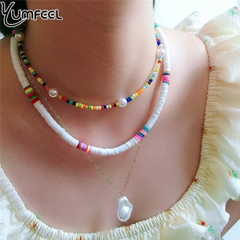Yumfeel New Ploymer Clay Coker Necklace Set 3pcs/Set Women Necklaces Jewelry Gifts Trendy image