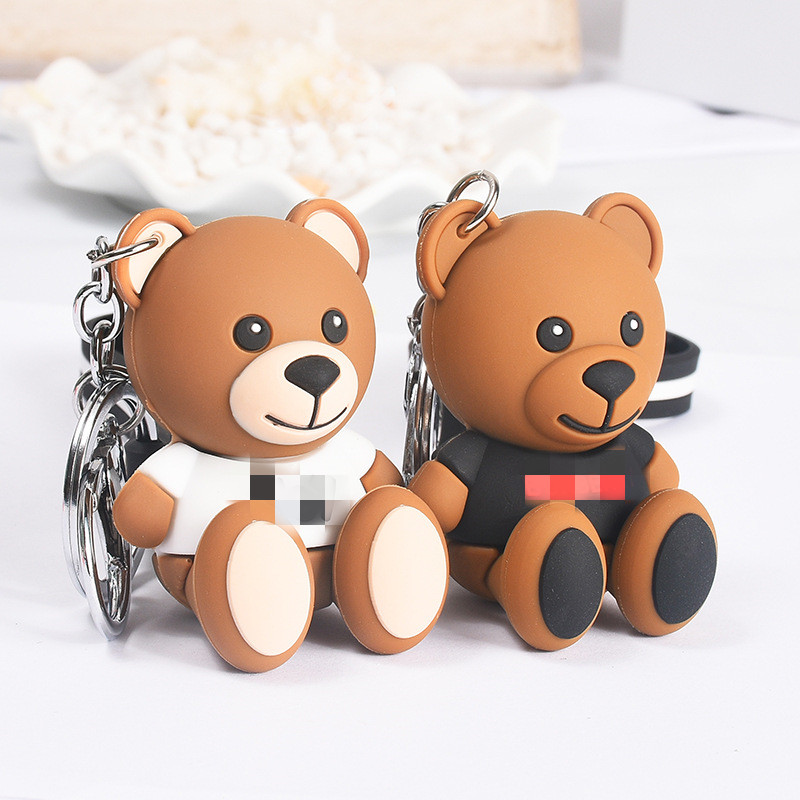 Cute Cartoon Bear Keychain Gifts For Women Girls Bag Pendant Epoxy PVC Figure Charms Key Chains Jewelry Porte Clef 2019