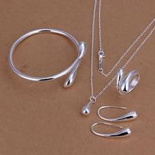 925 Ювелирный посеребренный ювелирный набор, недорогие свадебные вечерние наборы, модные серебряные капли ожерелье браслет серьги кольцо из четырех частей
