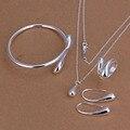 925 Ювелирный посеребренный ювелирный набор, недорогие свадебные вечерние наборы, модные серебряные капли ожерелье браслет серьги кольцо из четырех частей - фото