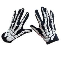 Halloween Women Men Horror Skull Claw Bone Print Gloves Female Men Fashion Skeleton Goth Racing Full Gloves Unsex Gloves 2019