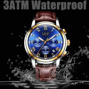 Image 3 - LIGE Gold Watch Men Fashion Business Quartz Clock Men's Watches Top Luxury Waterproof Leather Military Watch Relogio Masculino