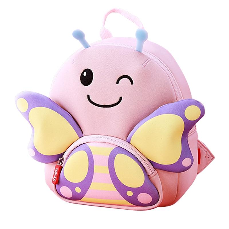 Fashion Pink Butterfly School Bags For Girls Kindergarten Kids Animals Backpacks Cute Cartoon Schoolbag Mochila Infantil