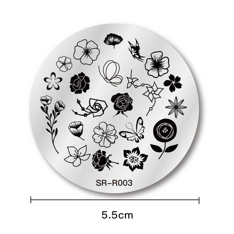 แสตมป์แสตมป์เล็บแม่แบบแผ่นผีเสื้อลูกไม้ดอกไม้แสตมป์แม่แบบสำหรับปั๊มเล็บพิมพ์เครื่องมือ DIY