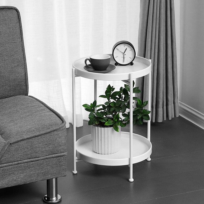 Nordique simple double couche petite table basse salon canapé chambre chevet en fer forgé table ronde stockage rack mx7111618 - 3