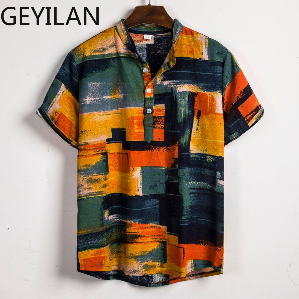2019 Men's Clothing Mens Contrast Color Printed Turn Down Collar Short Sleeve Loose Shirts Hauts Pour Hommes Plus Size June27