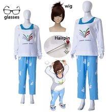 Kawaii Mei yaz oyunları kazak CG yükselişi ve parlaklık Cosplay pijama Meiling Zhou kostüm Mei Polar ayı pantolon cadılar bayramı ve peruk
