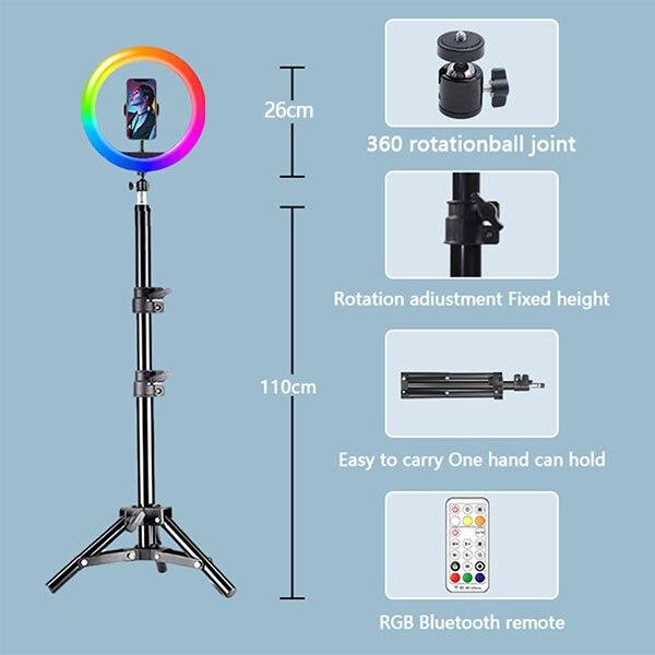 luz fotografia suporte rgb selfie luz suporte