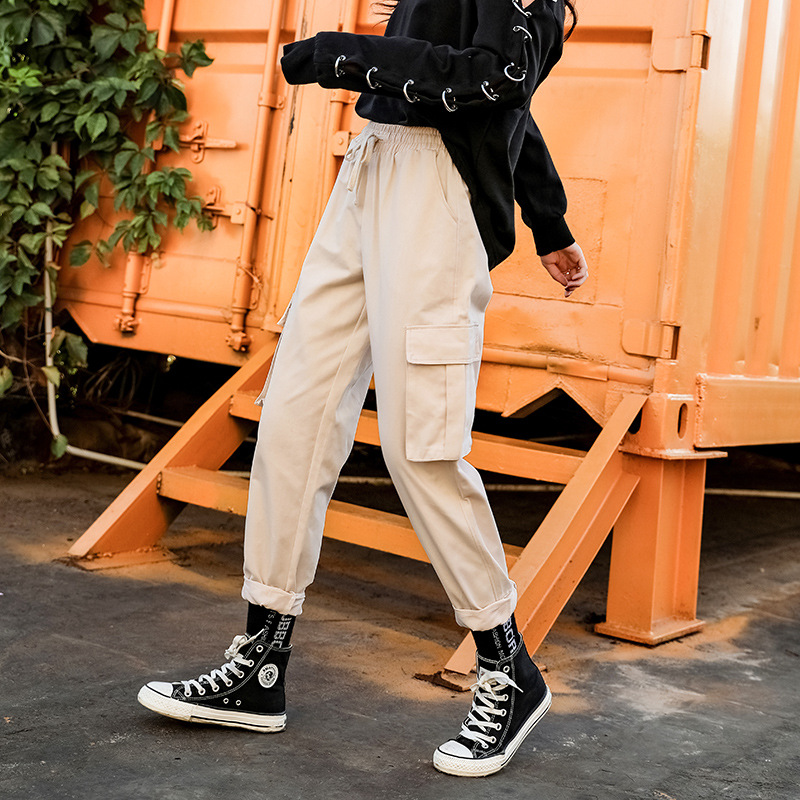 2019 spring and autumn new women's straight jumpsuit casual harem pants Harajuku style Korean version of the elastic waist wide 42