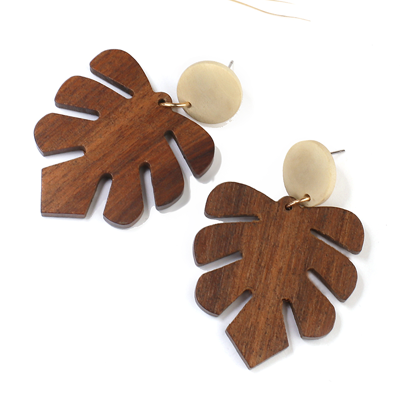 AENSOA 2020 Vinatge Multiple Korean Handmade Wooden Drop Earrings Ethnic Geometric Long Pendant Statement Earrings Jewelry Gift