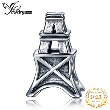 JewelryPalace 925 Sterling Silver Eiffel Tower Bead Charm Fit Bracelets Fashion DIY For Women