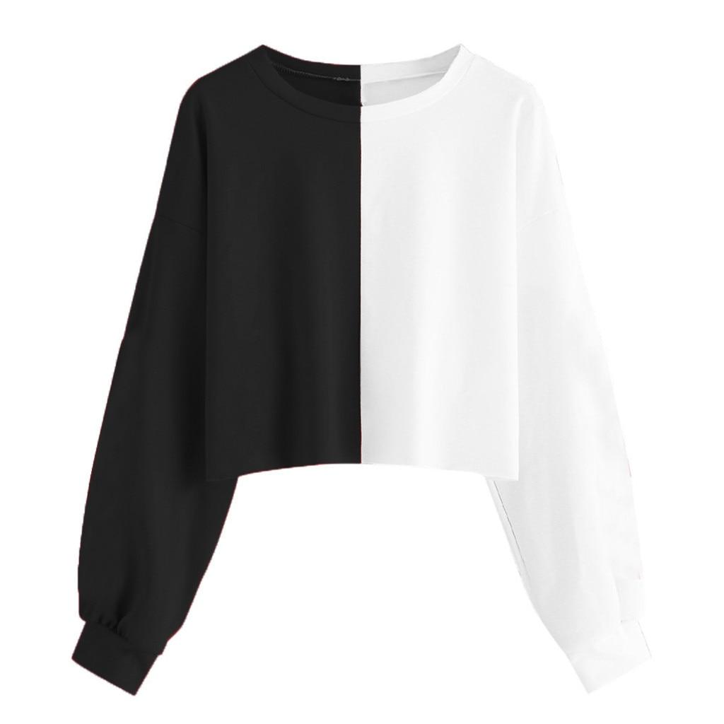 Jaycosin Womens Solid Long Sleeve Splice Sweatshirt Short Pullover Hooded Tops Blouse Womens Sweatshirt Hoodies Autumn Spring