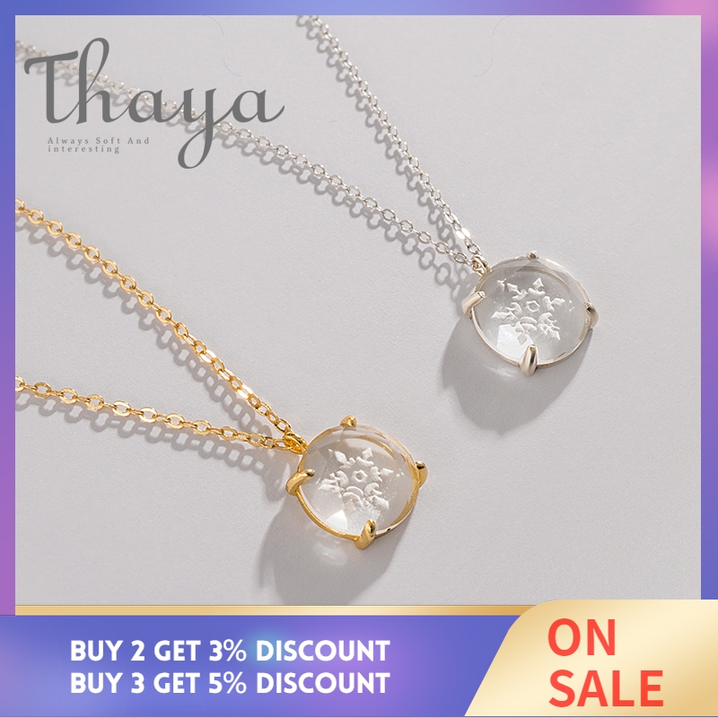 Thaya Snow Flower Carved Pendant Necklace s925 Silver Edelweiss Crystal Elegant Friendship Charm for Women Simple Dainty Jewelry-in Necklaces from Jewelry & Accessories