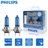 Phillips-Bombillas halógenas para uso en automóvil, luces para coche de 12V, 55V, súper blancas, modelo Diamond Vision 5000K, PX26d, 12972DVS2