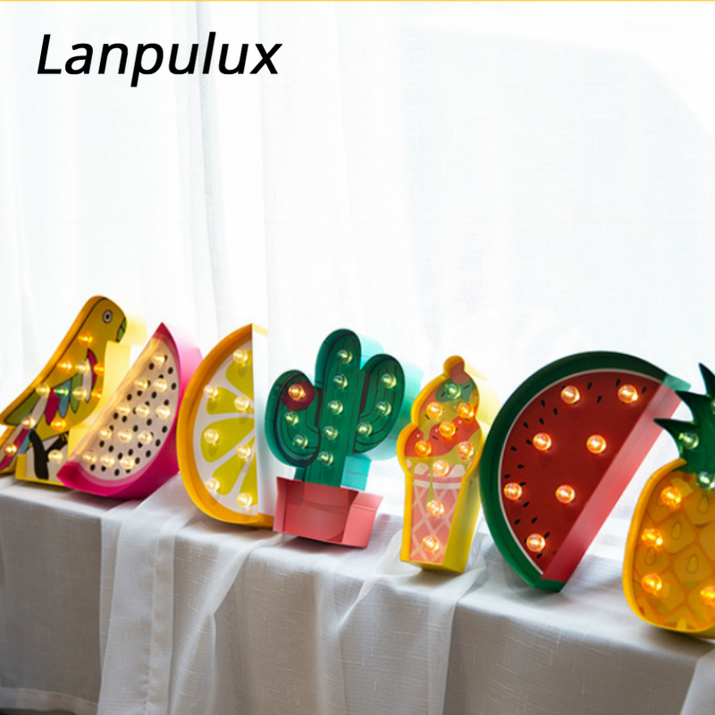 Lanpulux Eco-friendly Paper Fruit Night Lamp Ice Cream Parrot Cactus Decor Lamp Window Display Modeling Lights Photography Props