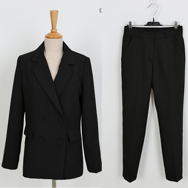 Black Professional Women's Suit Winter New Casual Double-breasted Ladies Blazer Office Slim Trousers Two-piece Female