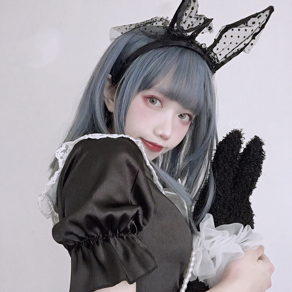 MANWEI 36CM Lolita Blue Ombre Bangs Straight Halloween Heat Resistant Cute Party Synthetic Cosplay Wig
