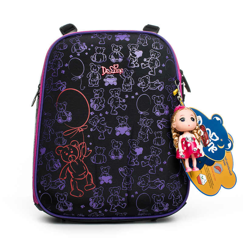Delune Factory Quality Children Cartoon School Bags Girls Grade 1-3 Students Orthopedic Satchel School Backpack Hard Cover 4-036