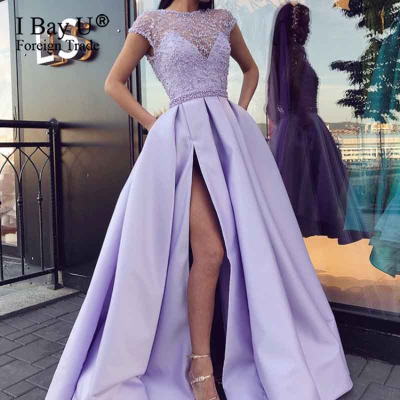 Charming Pearls Lace Purple Evening Dresses 2020 Satin Long Evening Gown Elegant Side Sleeves Open Slit A Line Prom Dresses