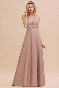 Robe De Soiree Dusty Rose Long Evening Dress 2020 Sexy Deep V-neck Navy Blue Evening Prom Gowns Vestido de Festa 3
