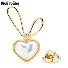 Wuli&baby Big Ears Pearl Rabbit Collar Pins For Women Lovely Animal Rabbit Head Spring Suits Shirt Brooch Pins Gifts