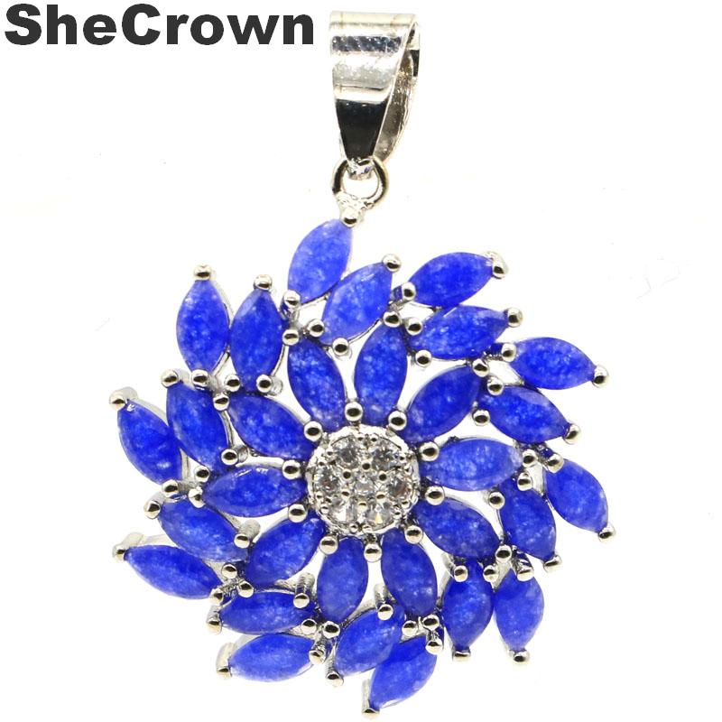 34x25mm Hot Sell Created Real Blue Sapphire CZ Woman's Wedding Silver Pendant