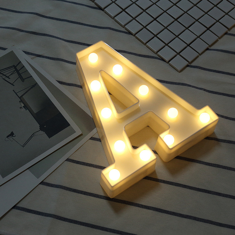 A-Z Alphabet Heart LED Light Warm White Wedding Birthday Decor Lamp Wall Creative Decoration Hanging Glow Light