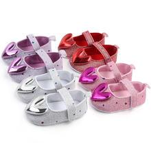 Блестящая мягкая подошва в форме сердца с блестками обувь для