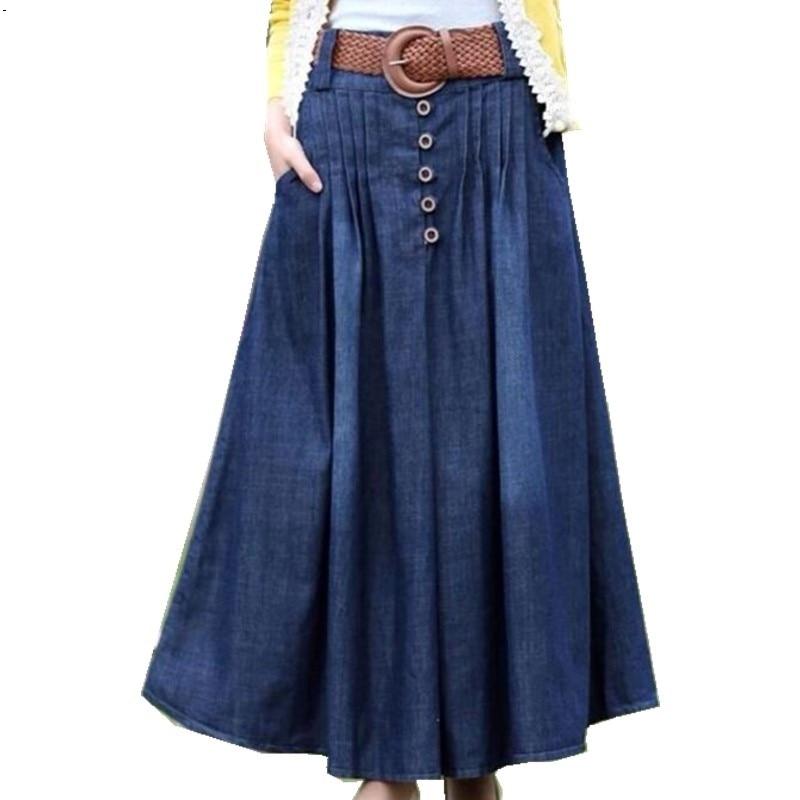 2019 New Denim Long Pendulum Skirt Female Pleated SkirtS Was Thin Korean Version Of Large Cross-border Cowboy Wholesale