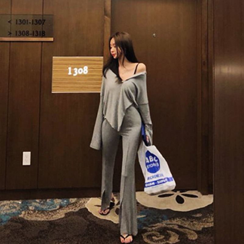 Spring New Style 2019 WOMEN'S Dress Korean-style Thread-Button Down Long-sleeved T-shirt Casual Pants Set Students Two-Piece Set