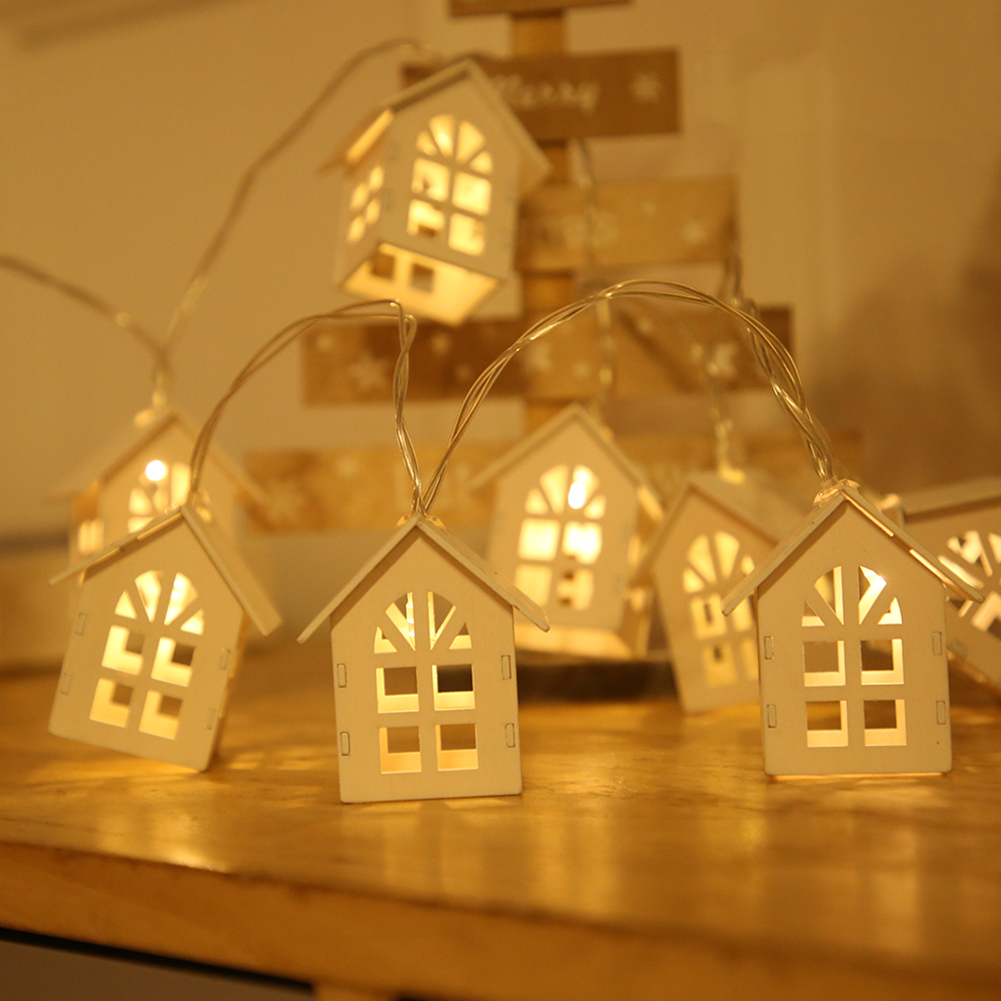 1.5m 10LED Fairy Lighting String Battery Powered Wooden House Style Lamps Party Weddings Garland Decorative Lights