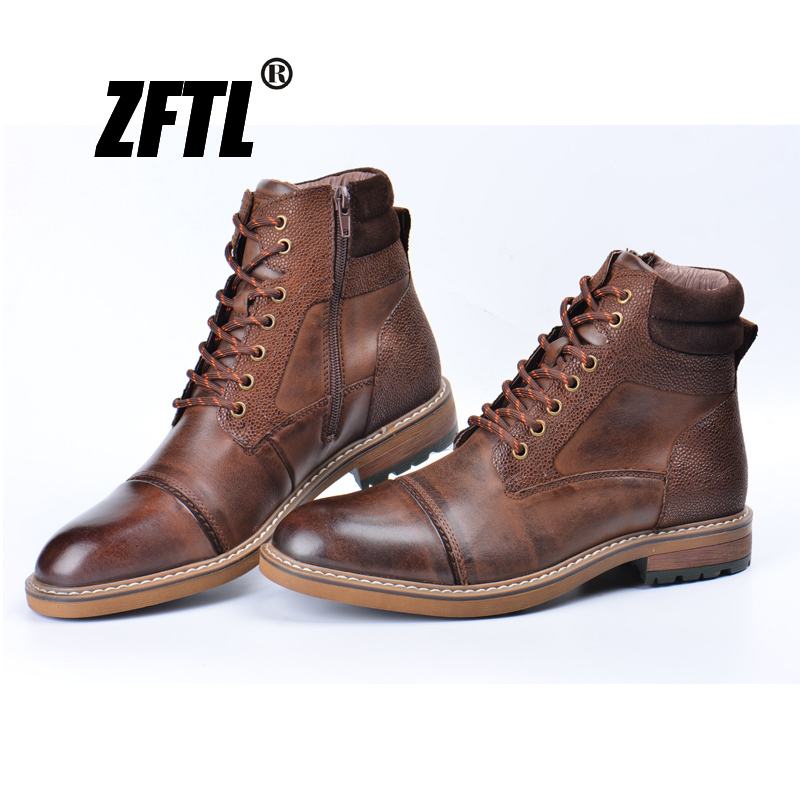 ZFTL New Men Martins Boots Winter Boots Genuine Leather Handmade Big Size Brown Man Casual Lace-up Boots Non-slip Warm Boots 044