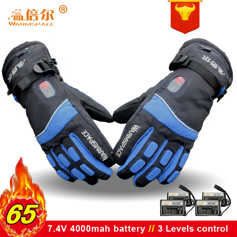 Warmspace 7.4V  Electric Rechargeable Heated Gloves Ski  Lithium Battery Self  Winter Warm Gloves Heated For  Cycling Ski Gloves