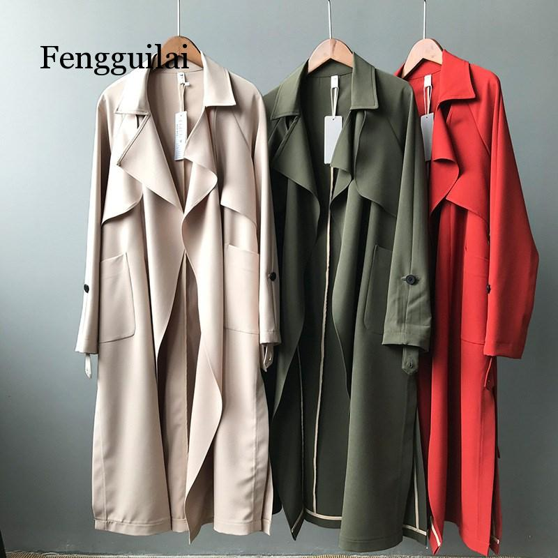 2019 Women Solid Turn Down Collar Pockets Long Coat Spring New Sashes   Trench   Coat High Waist Casual Windbreaker