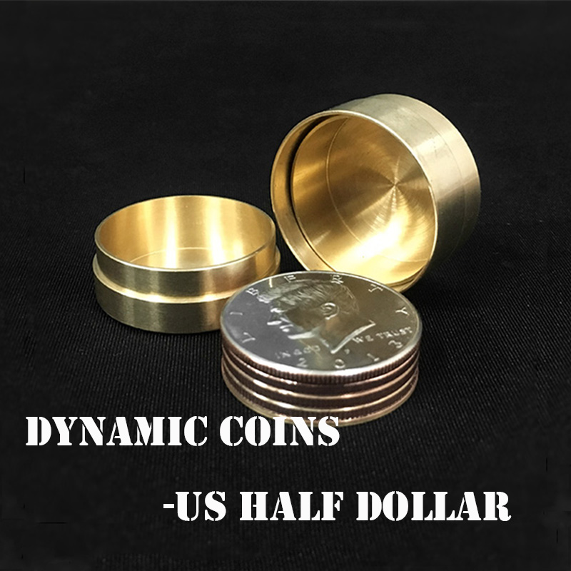 Copper Dynamic Coins - US Half Dollar Version Magic Tricks Coin Appear Vanish Magia Magician Close Up Illusions Gimmick Props