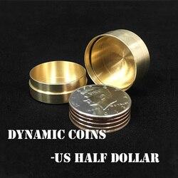 Moedas dinâmicas de cobre-meio dólar americano (sem moedas) truques de magia moeda aparecer desaparecer magia mágico close-up ilusões truque adereços