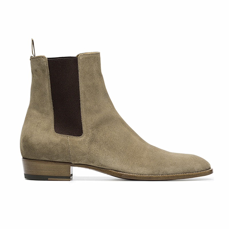 Fait à la main de haute qualité en cuir de marque Chelsea hommes bottes en daim tan harry robe de mariée hommes bottes de vachette