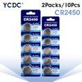 10 шт./2 упаковки cr2450 кнопочный аккумулятор 3 в ECR2450 KCR2450 5029LC LM2450 DL2450 BR2450 CR 2450 литиевые часовые батарейки