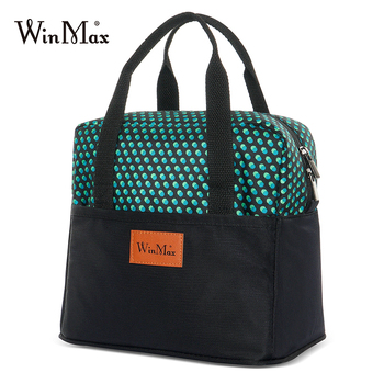 Winmax Dot Print Lunch Bag Cooler Thermal Bag Insulated Keep Food Fresh Outing Picnic Lunchbox Bags For Wome Office Tote Bag Box calico print tote bag