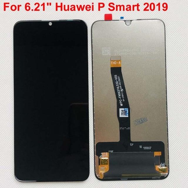 """새로운 6.21 """"화웨이 P 스마트 2019 LCD 디스플레이 스크린 + 터치 패널 디지타이저 POT LX1/POT LX1AF/POT LX2J 프레임"""