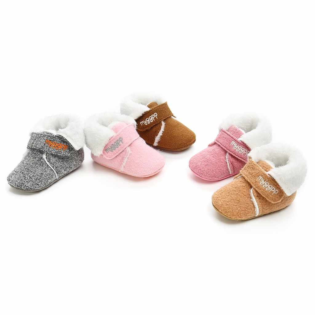 Toddler Infant Kids Baby Girls Boys Winter fashion shoes Warm Solid Snow Boots Bootie Shoes solid soft cotton letter baby shoes